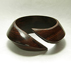 1970s Runway Modernist Carved Wood Bangle Bracelet Jet Set Chic