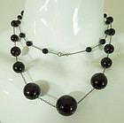 20s Art Deco Black Cherry Amber Bakelite Silver Necklace Long Sautoir
