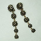 1970s Shoulder Sweeping Long Drop Earrings Black Stones Signed