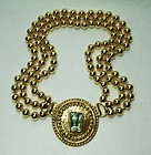 1980s Jean Louis Scherrer Necklace Byzantine Aqua Resin Stone