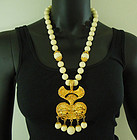 1970s Runway Faux Ivory Etruscan Lion Heads Drop Necklace