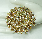 1960s Huge 3+ Inch Rhinestone Brooch Made in Austria Topaz Crystal