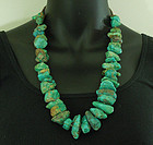 Vintage Santo Domingo Turquoise Nugget Heishe Necklace Statement