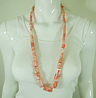 1970s Angel Skin Coral Necklace Huge Barrel Beads 223 Grams