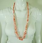 1970s Angel Skin Coral Necklace Huge Barrel Beads 223 Grams