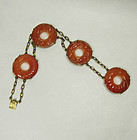 1920s Chinese Art Deco Carved Carnelian Silver Bracelet Bi Discs
