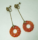 20s Chinese Art Deco Carved Carnelian Bi Disc Silver Earrings Foo Dogs