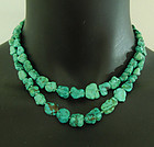 Vintage Chinese Matrix Turquoise Necklace Hand Knotted Nuggets