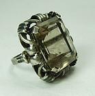 1920s Art Deco German 835 Silver Smoky Quartz Statement Ring