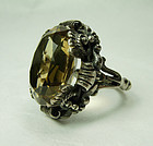 1920s Austro Hungarian Sterling Silver Citrine Statement Ring