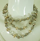 50s French Wired Necklace Glass Pearls Rhinestone Balls 52 Inches