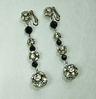 1960 French Wired Earrings 3 Inch Rhinestone Balls Black Glass