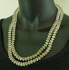 1960s Crystal Necklace Bicone Glass Beads Filigree Caps 2 Strands