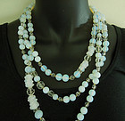1960 French Opaline Poured Glass 72 Inch Necklace Sautoir Crystal