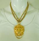 1980s Runway Lion Doorknocker Pendant Necklace 4 Inch Drop