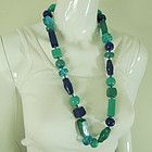 80s Couture Lucite Necklace Blue Aqua Hand Knotted Silk Cord