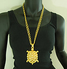 1980s Huge Heavy Runway Turtle Form Necklace 4.5 Inch Pendant