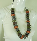 1970s Huge Studio Ceramic Necklace Glazed Beads Modernist