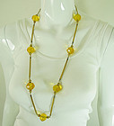 1940s French Necklace Huge Topaz Glass Beads Filigree Snake Chains