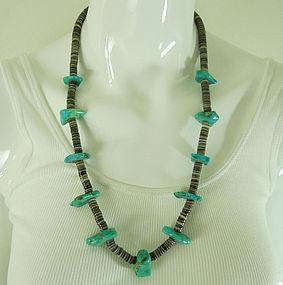 Santo Domingo Pueblo Necklace Shell Heishe Beads Turquoise