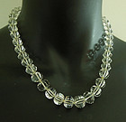 1930s Art Deco Rock Crystal Necklace 14KT Gold Clasp Hand Knotted
