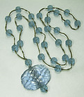 1900 Chinese Blue Peking Glass Carved Necklace Basketweave Beads