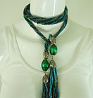 70s Wiener Werkstatte Style Blue Green Poured Glass 47 Inch Necklace