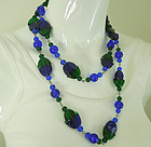 1970s Blue Green Cased Poured Glass Wired Bead Necklace 45.5 Inches