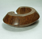 Signed Patricia Von Musulin Lignum Vitae Wood Carved Cuff Bracelet
