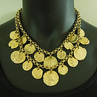 1970s Couture Tiered Byzantine Coin Form Charm Necklace