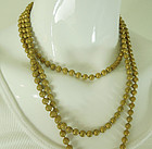 Cascading 1970s French Fluted Bead Chain 58 Inch Necklace