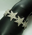 1970s Kenneth Lane KJL Pave Rhinestones Star Motif Bracelet Statement