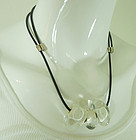 Sent Murano Modernist Venetian Glass Beads Necklace Leather Strand