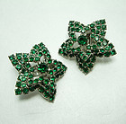 1970s Star Form Earrings Brilliant Green Rhinestones Layered Couture