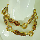 1970s Gucci Italy Cognac Enamel Necklace Belt Modernist 39 Inches