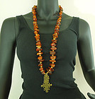 Very Big Vintage Couture Amber Nugget Necklace Tribal Style Pendant