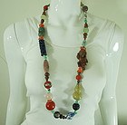 1970s Chinese Export Necklace Carved Beads Coral Turquoise Wood Stone