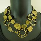 1970s Studio Brutalist Modernist Bronze Necklace / Belt Ring Motif