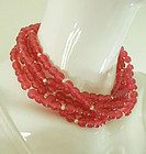 1980s Kenneth Lane KJL Pink Gripoix Poured Glass Necklace 5 Strand