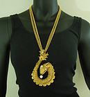 1960s Huge Runway Sea Serpent Necklace 5 Inch Pendant Statement Size