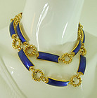 1970s Gucci Italy Blue Guilloche Enamel 39 Inch Necklace / Belt