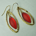 Alexis Bittar Carved Lucite Sculpted Goldtone Earrings Red Orange