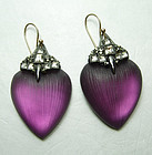 Alexis Bittar Plum Purple Carved Lucite Gunmetal Crystal Earrings