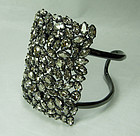Alexis Bittar Large Cuff Bracelet Pave Swarovski Crystals Smoke Gray