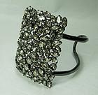 Alexis Bittar Large Cuff Bracelet Pave Swarovski Crystals Smoke Gray