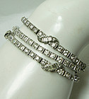 Set 3 1940s Otis Sterling French Paste Rhinestone Bracelets Baguettes