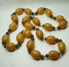 1970s Huge Butterscotch Lucite Goldtone Wired French Necklace Tribal