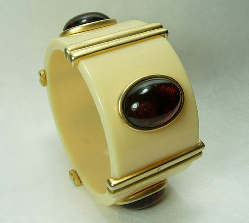 Huge Couture 1980s Lucite Faux Ivory Tortoise Goldtone Bangle Safari