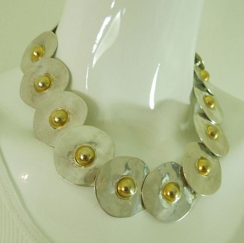 1970s Modernist Statement Size Couture Necklace Unsigned Les Bernard