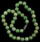 1930s Apple Jade Beaded Necklace 9MM; 14KT Opal Clasp